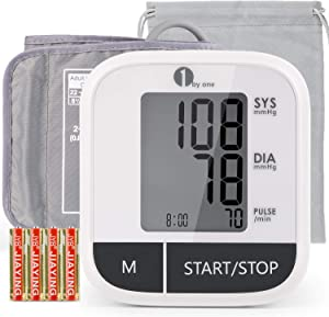 1byone Blood Pressure Monitor Upper Arm for Home use, Automatic BP Monitor with Digital LCD Display, 8.6''-16.5'' Large Cuff, Storage Bag, Auto Off, 4 AAA Batteries Included (White)