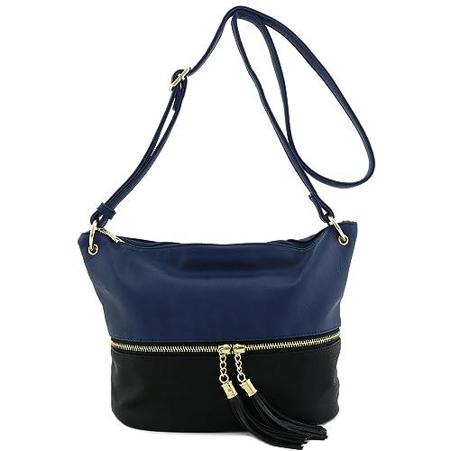 7344ca837 Tassel Accent Bucket Crossbody Bag Dark Blue/Black: Handbags: Amazon.com
