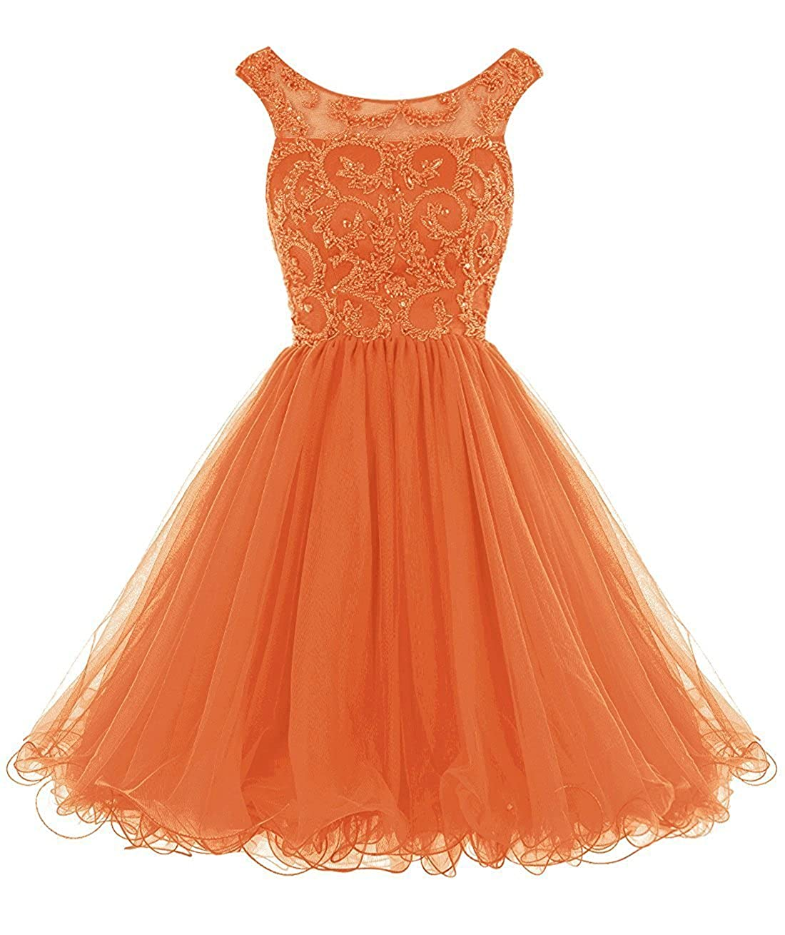 orange Caissen Women's Short Ball Gown Illusion Scoop Neck Beading Rhinestones Tulle Prom Dress V Back with Zipper Party Wear