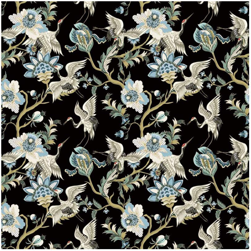 Baocicco 10x10ft Traditional Japanese Red-Crowned Photography Background Crane Blue Irises Flowers-de-Luce Backdrop Black Background Room Wallpaper Decoration PhotoCall Photo Studio Vinyl Props