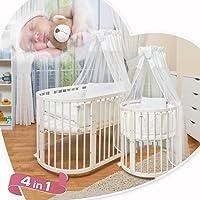 ComfortBaby © - Kinder Baby Bett - Oval - 4 in 1 - aus Buche MASSIVHOLZ - nutzbar als Kinderbett, Laufgitter, Minibett INKL. Himmel, Bezuege, Decken, Matratzen, Nestchen uvm. KOMPLETTANGEBOT