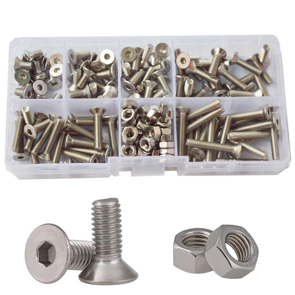 Flat Head Hex Socket Cap Screws Metric Countersunk Bolts Nuts Assortment Kit160pcs,304Stainless Steel M5