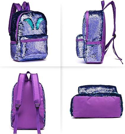 Blansdi Reversible Sequins Backpack Bags Magic Mermaid Lightweight Shining Daypacks Green
