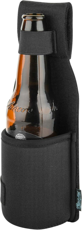 Beautyflier Neoprene Beer Hip Holster Single Bottle Can Beverage Holder for Walking, Hiking, Travel (Black)