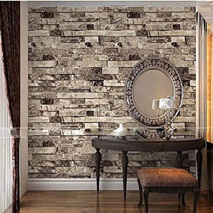 Qihang Three Dimensional Wallpaper Brick Wall Wallpaper 3d Textured Bricks Gray Color