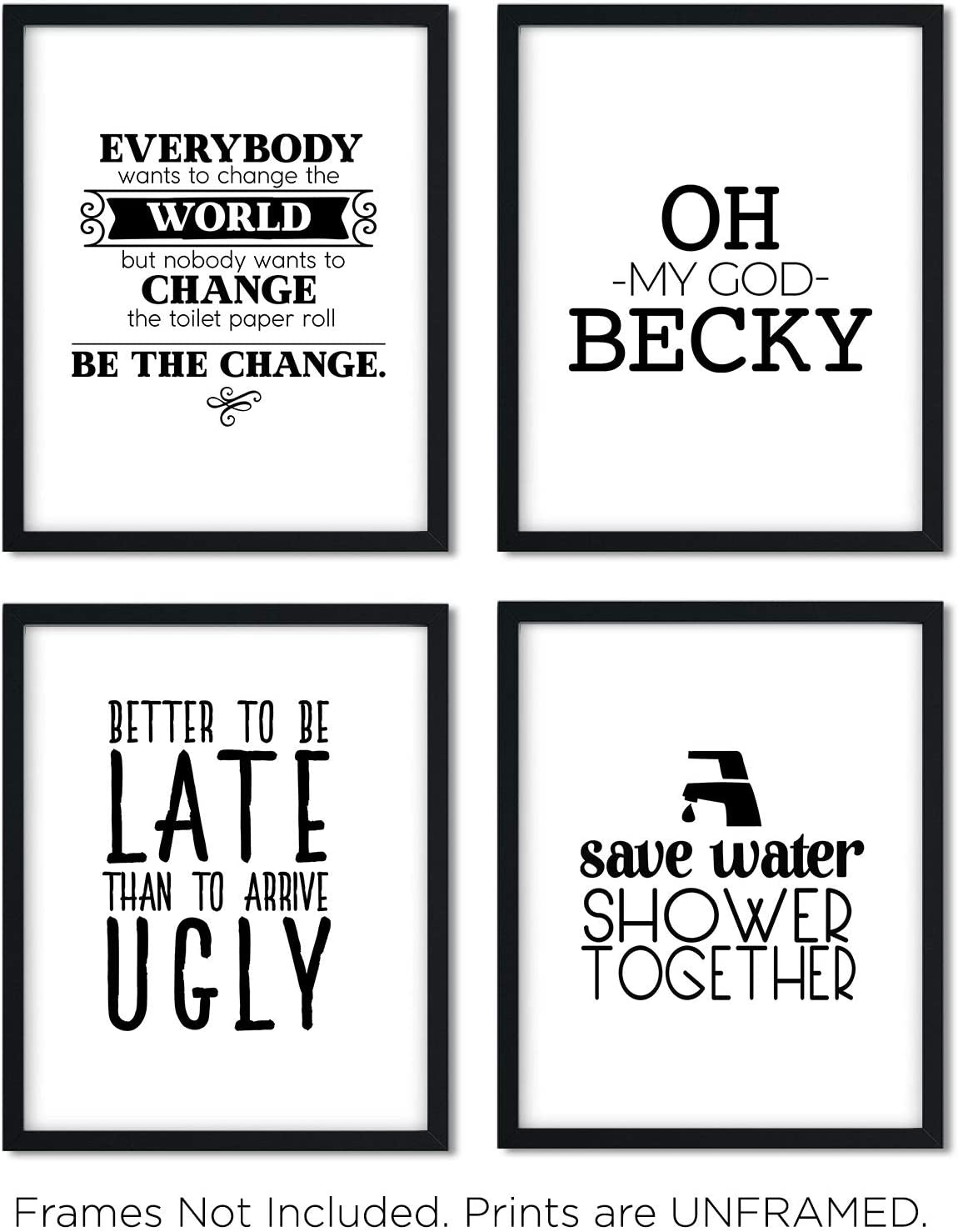 Funny Bathroom Art Prints (Unframed) Wall Art   Great Gift Set of 4 Quotes   Eleven Sets Available   Set 7