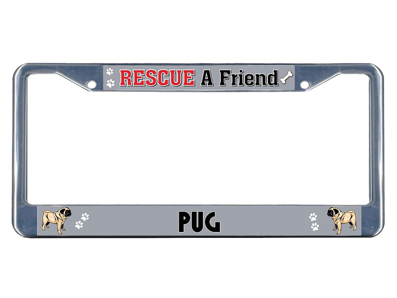 Fastasticdeals Mops Hund Rescue A Friend Metall Chrom Nummernschild ...