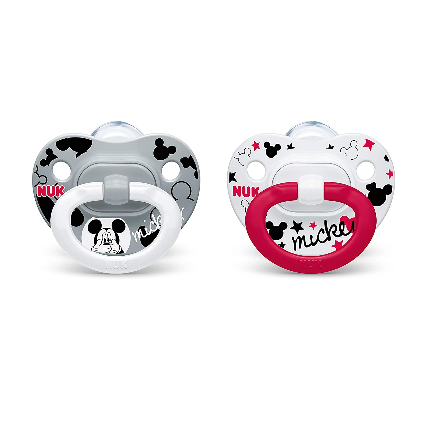 NUK Disney Mickey Mouse Orthodontic Pacifiers, 0-6 Months, 2-Pack