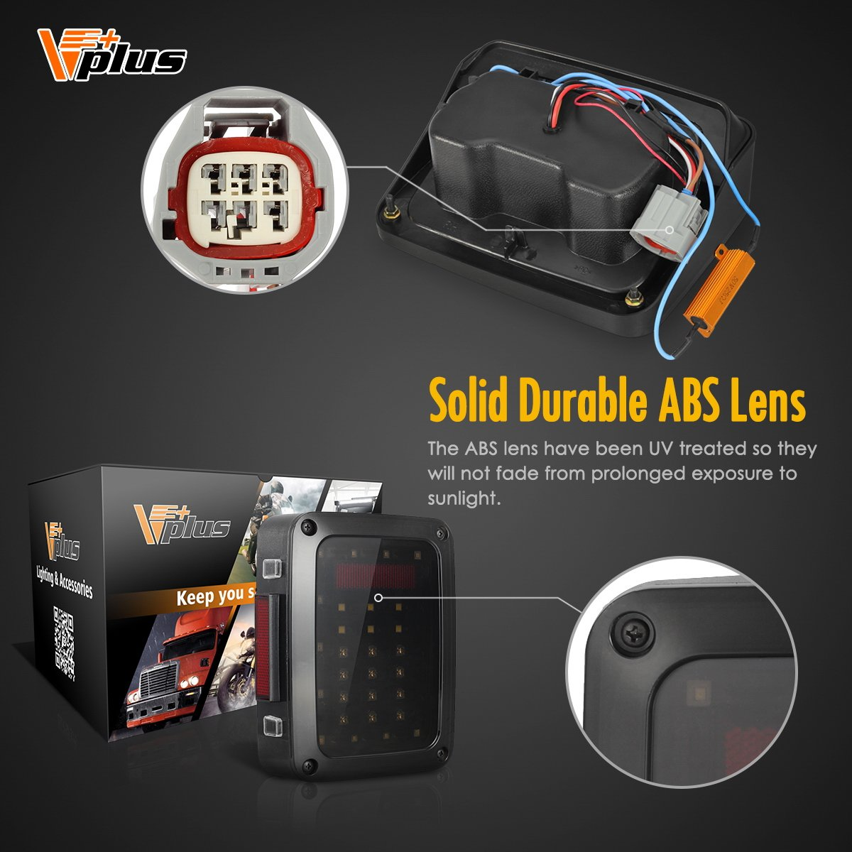Vplus Led Tail Lights Assembly Smoke Lens Brake Turn Cj Jeep Trailer Wiring Harness 2014 Stop Reverse Drl Light Lamp Replacement For 2007 2017 Wrangler Yj Jk Tj Jku Sports