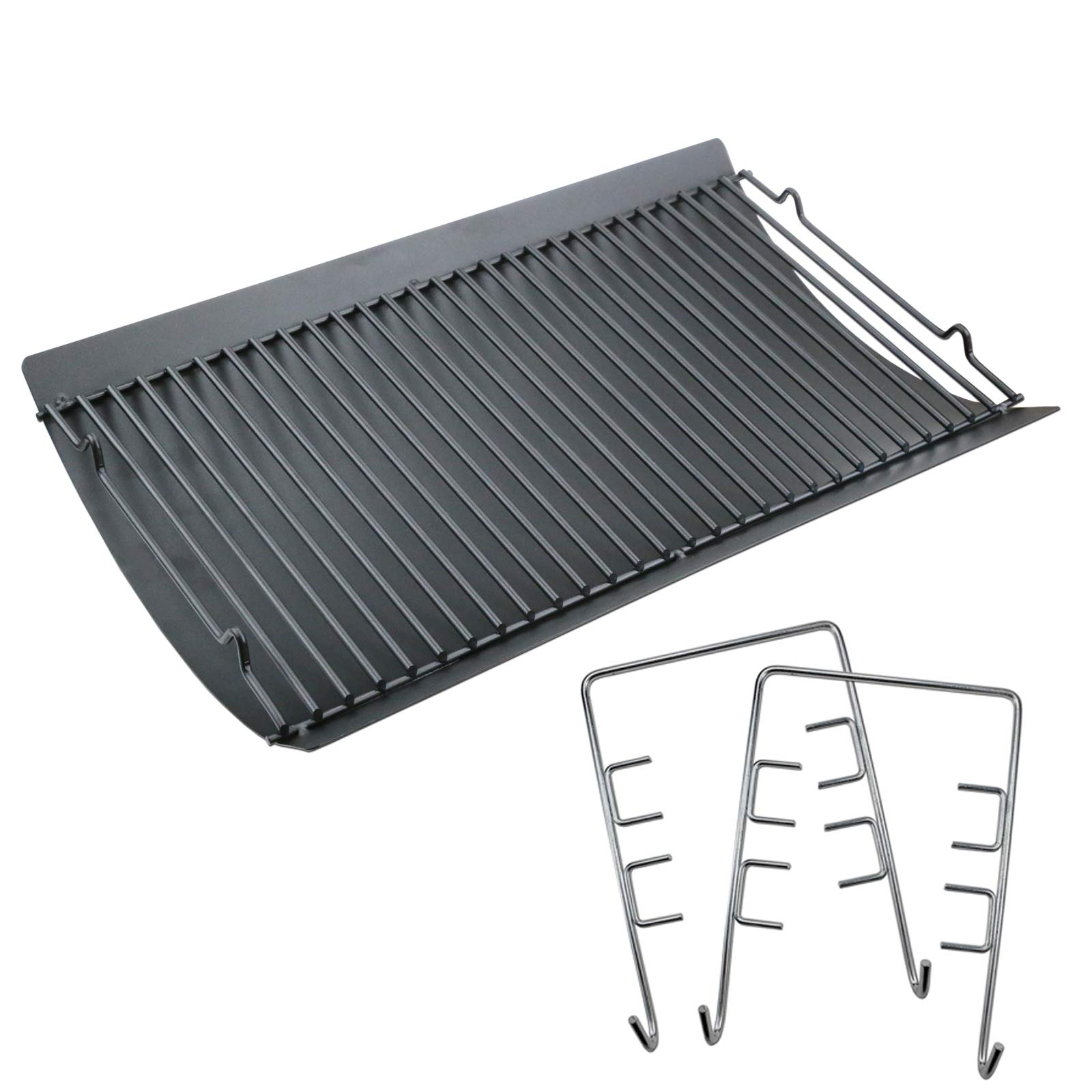 Uniflasy 20 Inches Ash Pan/Drip Pan for Chargriller 5050, 5072, 5650, 2123 Charcoal Grills, Char-Griller Model 200157, Chargriller Replacement Part with 2pcs Fire Grate Hanger by Uniflasy