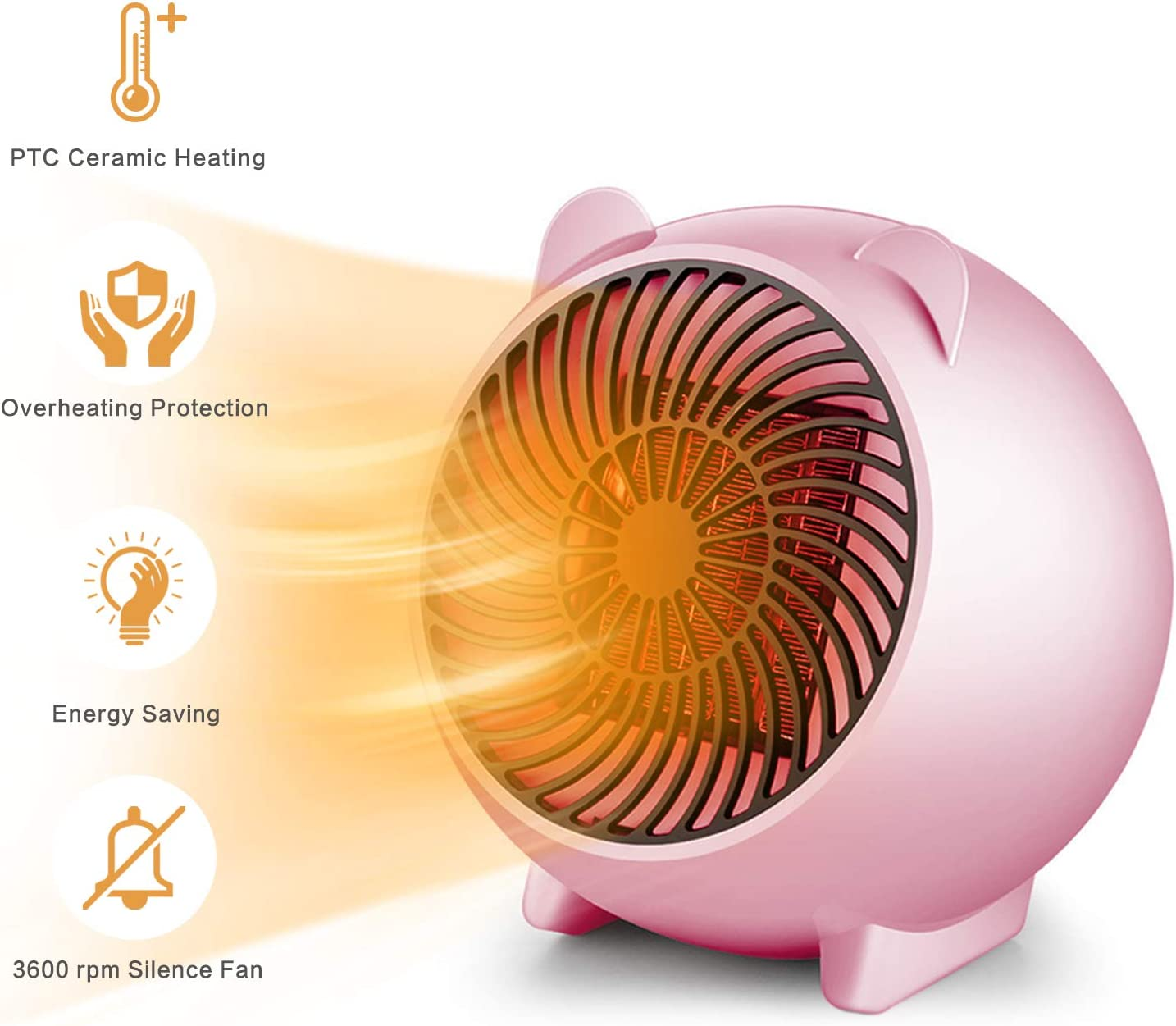 HomeMiYN Space Heater, Portable Electric Heater for Office and Home any Indoor Use With Overheat Protection and Thermostat Control, Pink 500 Watts