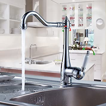 BONADE Messing Mischbatterie 360° drehbar Retro Wasserhahn Küche ...