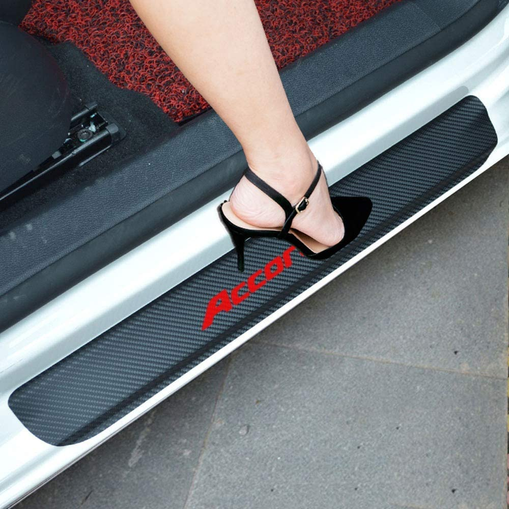 red Carbon Fiber Vinyl Sticker Car Door Sill Protector Scuff Plate For Accord Car Accessories