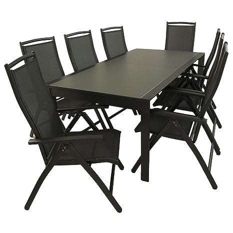 Edenjardi Conjunto Exterior, Mesa Extensible 200/300 y 8 sillones reclinables, Aluminio Color Antracita y Cristal antirayaduras Color taupé, 8 plazas