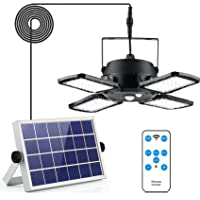 YGOCH Solar Pendant Lights Outdoor Indoors, 4 Lighting Modes with Remote Control 4 Leaf 128 LED 1000LM Waterproof Solar…