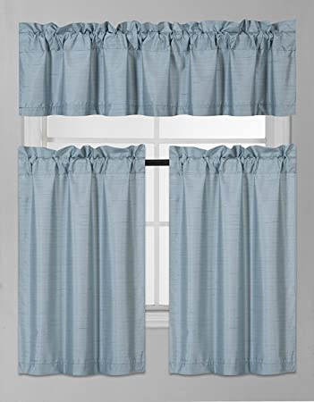 Amazon Com Fancy Collection 3 Pieces Faux Silk Blackout Kitchen Curtain Set Tier Curtains And Valance Set Solid Slate Blue Window Set Thermal Backing Drapes New Home Kitchen