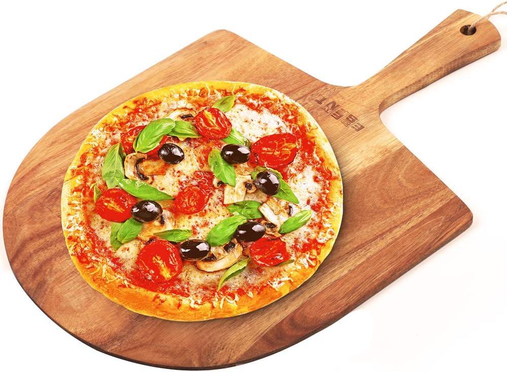 ESSENNT Pizza Peel Wood 14 inch Natural Acacia Homemade Baking Bread Cake Peeler Cheese Board Serving Tray