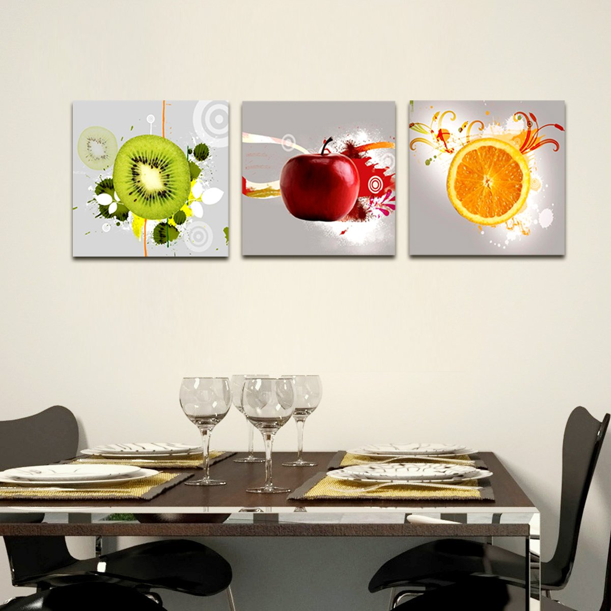 Red Apple Orange Kiwi Wall Art Print Canvas Framed Kitchen