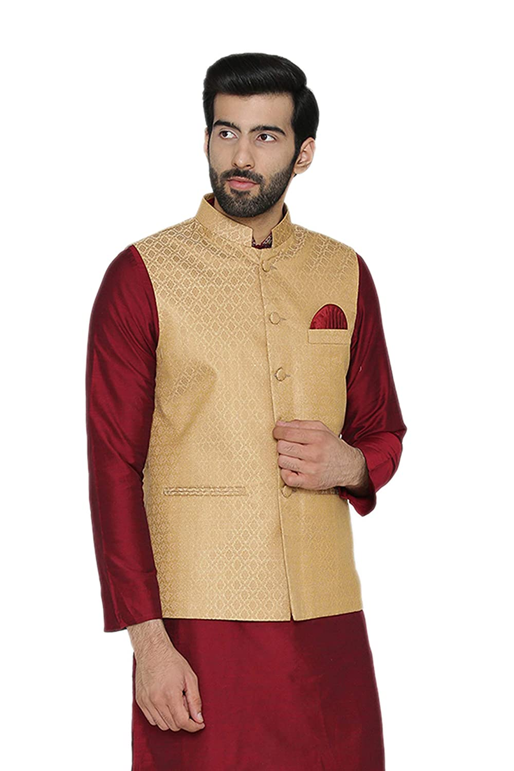 WINTAGE Men's Banarasi Art Silk Cotton Blend Festive and Casual Nehru Jacket Vest Waistcoat