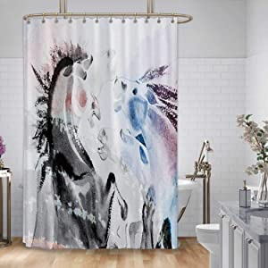 ALUONI Electricity Production in The USA.The Hoover Dam on River and Arch Bridge,Shower Curtain for Bathroom 71x59in(WxH)