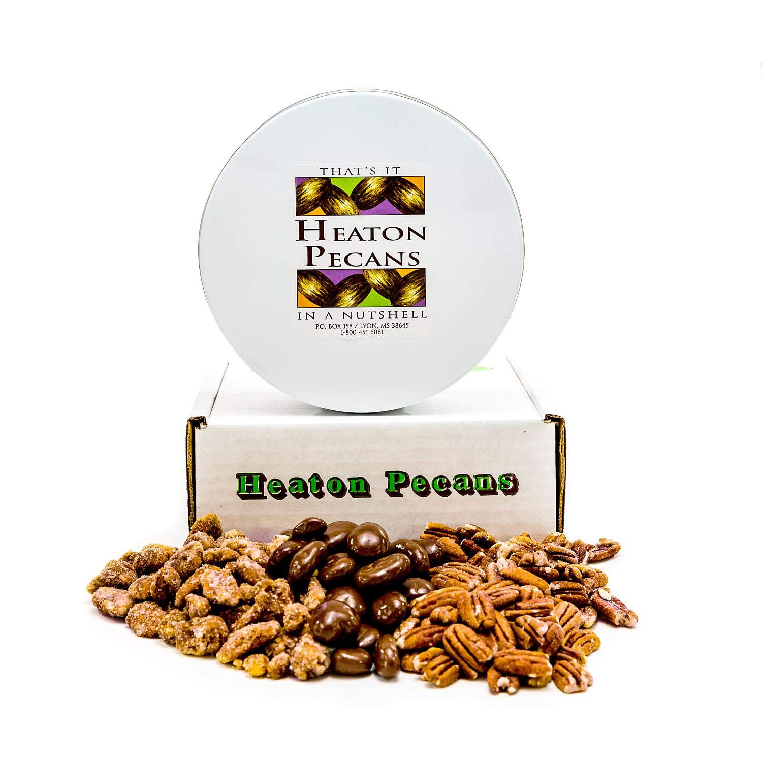 A Product of Heaton Pecans, Chocolate-Covered, Oven Roasted/ Salted, and Praline
