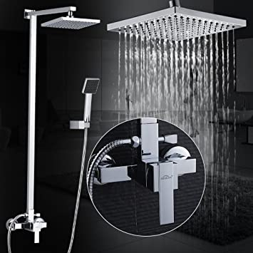 Design Überkopfbrause Set Duschsäule Regenbrause Duschset Handbrause Chrom DHL