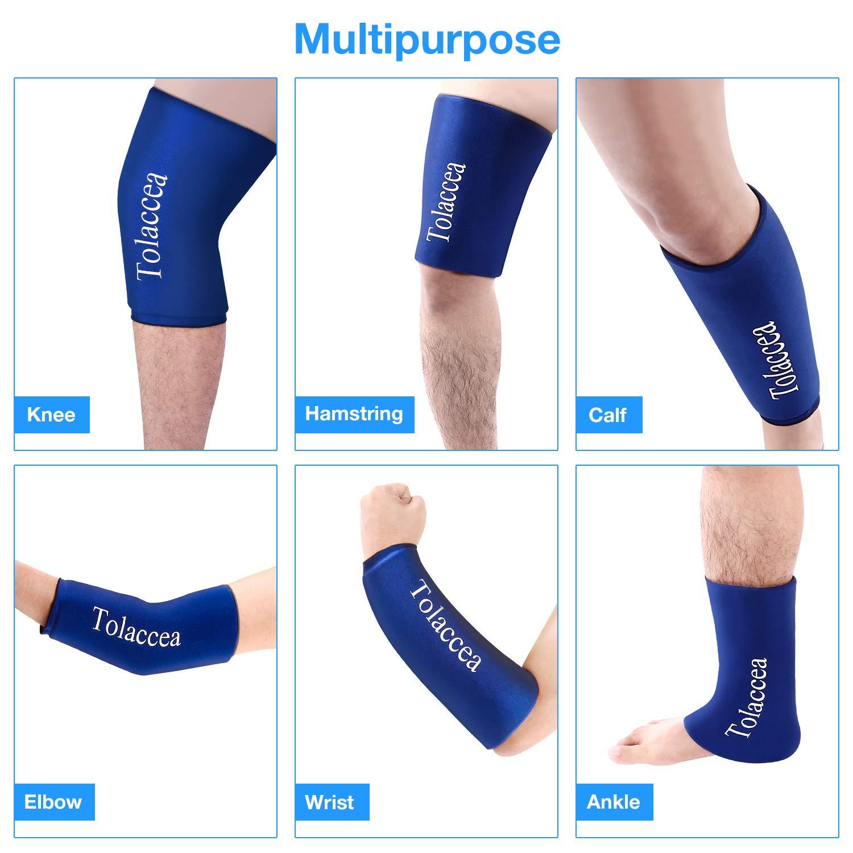 Heiß- und Kältetherapie Flexible Eisbeutel Kalttherapie-Kompressionshülse Wiederverwendbare Gelpackung für Verletzungen Kaltwickel für Knie-, Waden- und Knöchelellenbogen(M)