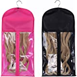 2 Pack Portable Wig Hair Extensions Storage Bag with Hanger Hairpieces Storage Holder Wigs Carrier Case for Store Style…