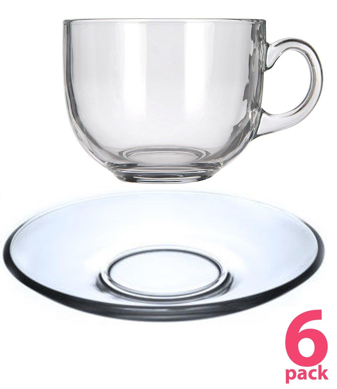 Tea/Coffee/Soup/Cappuccino Highest Quality Ultra Clear See Through Glass Jumbo Mugs and Saucers Set, 12 Piece (16 OUNCES JUMBO)