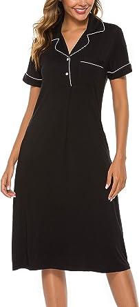 COLORFULLEAF Night Shirt Womens Button Down Long Sleeve Nightgown Sleep Shirts