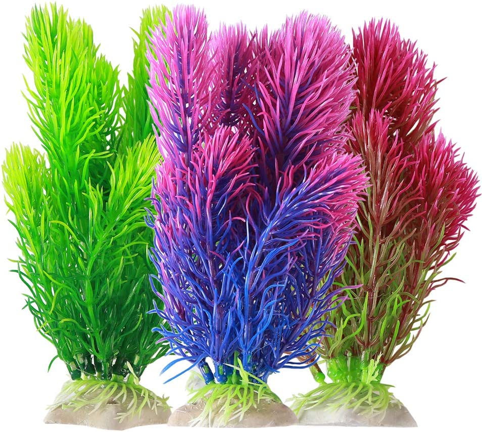 Kibun 16 Piece Set Aquarium Decor Fish Tank Decoration Ornament Artificial Purple Navy Green Red Plastic Plant Plastic Plants