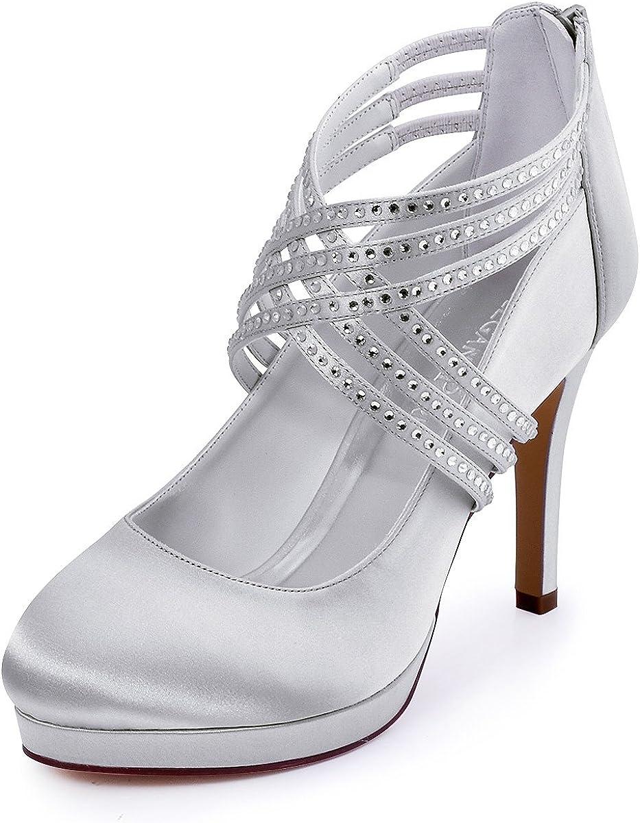 Zapatos de tacón alto de satén con punta cerrada y con bandas cruzadas de diamantes de imitación marca ElegantPark, modelo EP11085, para mujer; ideales para bodas.
