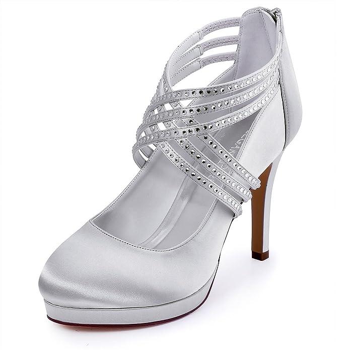 754b134820 Zapatos de tacón alto de satén con punta cerrada y con bandas cruzadas de  diamantes de imitación marca ElegantPark