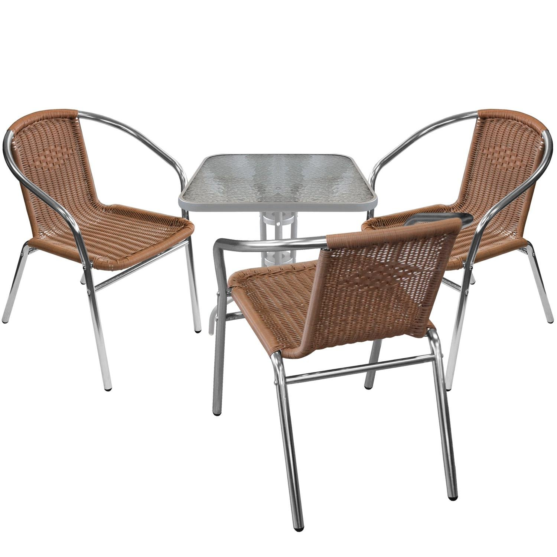 4er Bistro Und Balkonmöbel Set Glastisch 60x60cm Silber 3x