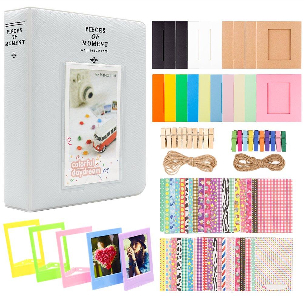 Ablus 2x3 inch Photo Paper Film Album Set for Fujifilm Instax Mini Camera/HP Sprocket Photo Printer/Polaroid Snap, Z2300, SocialMatic Instant Cameras&Zip Instant Printer (64 Pockets, Smokey White)