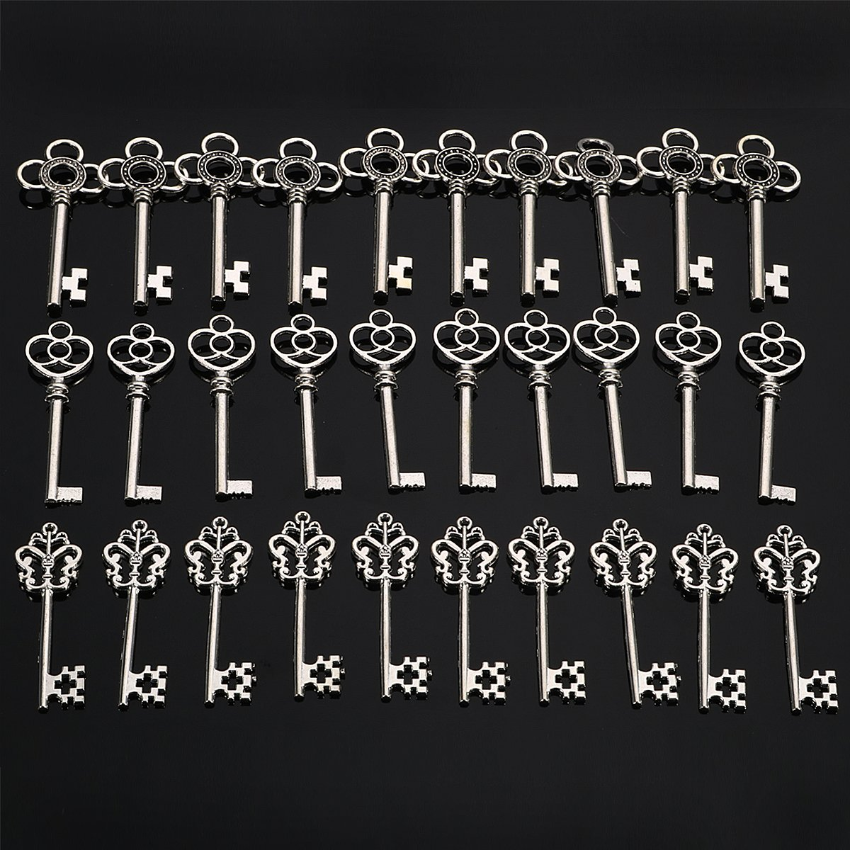 Jeteven Retro Schlüssel Anhänger Bronze Silber Vintage Schmuck Basteln Key Kette Halskette Armband antik Deko (30er)