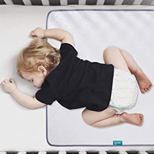 "Waterproof Protector 27"" x 36"", Non-Slip & Durable Wateproof Pad Mat for Baby Pack n Play/Crib/Mini Crib, Ultra Soft Reusable Lifesaver for Toddler Kid Bed As Sheet Protector, White"