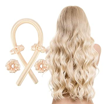 Women Heatless Hair Curlers For Long Hair, No Heat Silk Curls Headband, Soft Foam Hair Rollers, Curling Ribbon and Rods for Natural Hair, DIY Hair Styling Tools for Long Medium Hair (Rose)