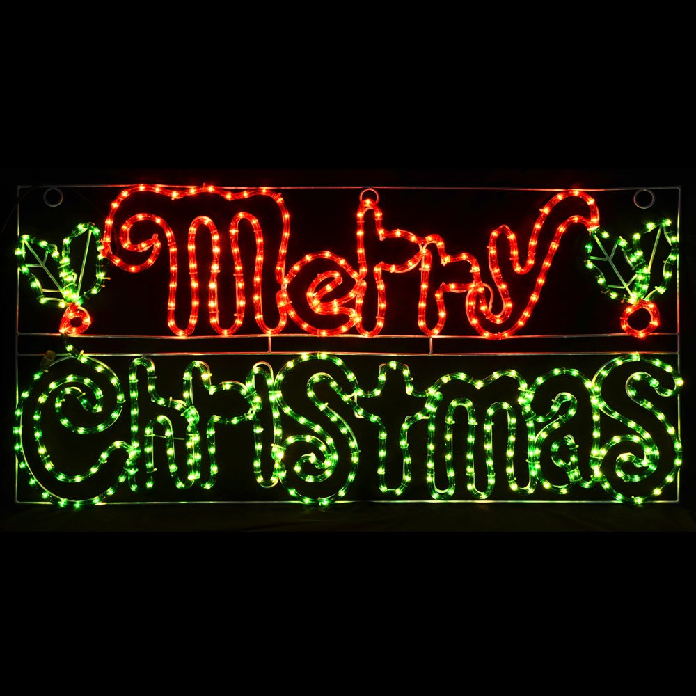 Festive Merry Christmas Mains Voltage Rope Light Sign For Indoor ...