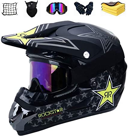 Motocross Helm Set Mit Brille Handschuhe Maske Korallenvlies Handtuch Motorrad Netz Jugend Sturzhelm Schutzhelm Adult Downhill Helme Endurohelme Kinder Quad Bike Atv Go Kart Helm B M Auto