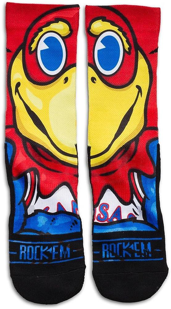 Rockem Apparel Kansas University KU Jayhawks Custom Athletic Crew Socks
