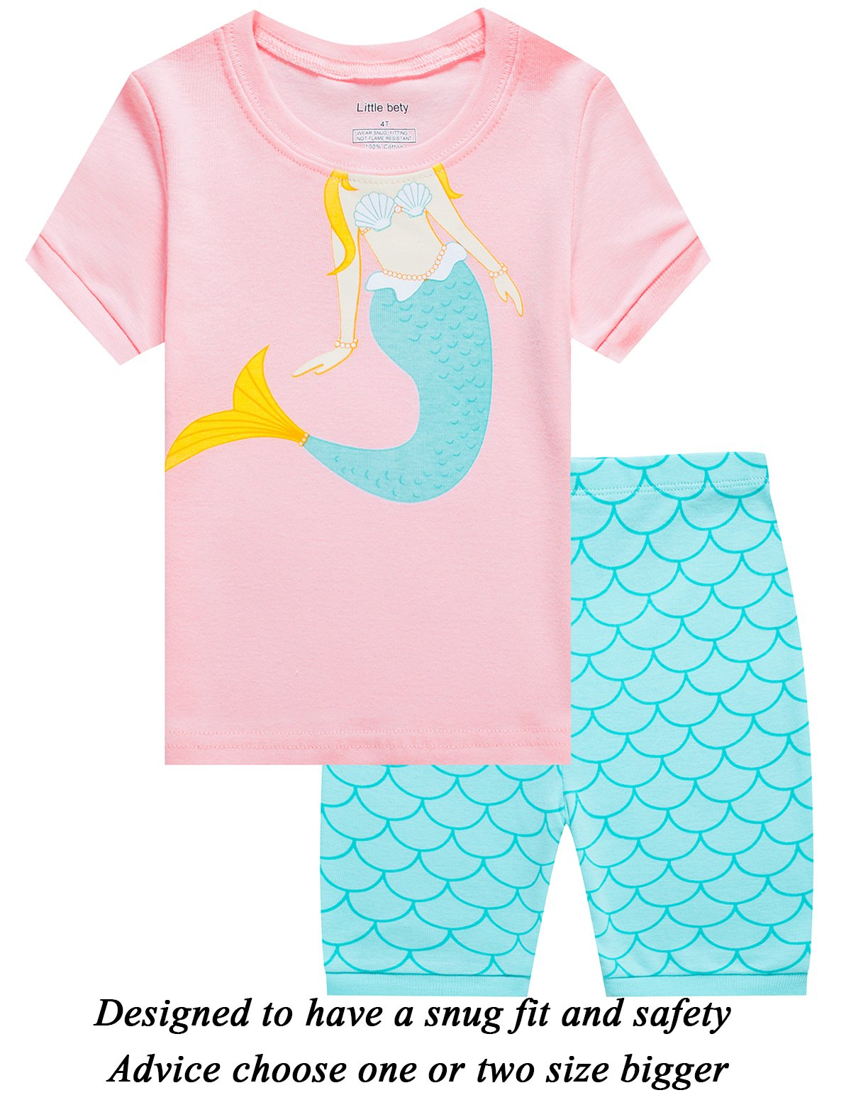 Little Girls Short Pajamas Mermaid 100% Cotton Toddler Pjs Summer Clothes Shirts 8t