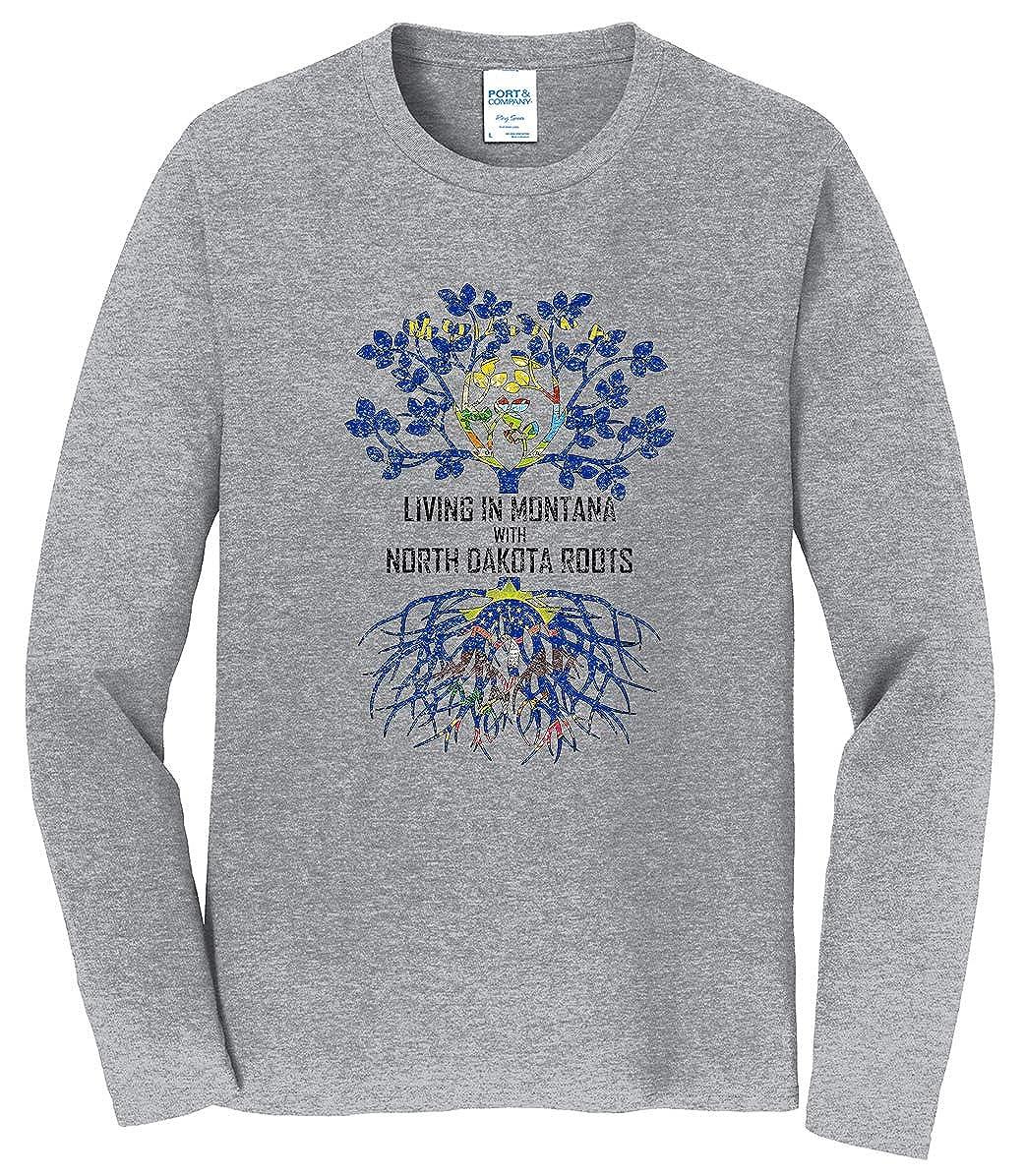 Tenacitee Mens Living in Montana North Dakota Roots T-Shirt