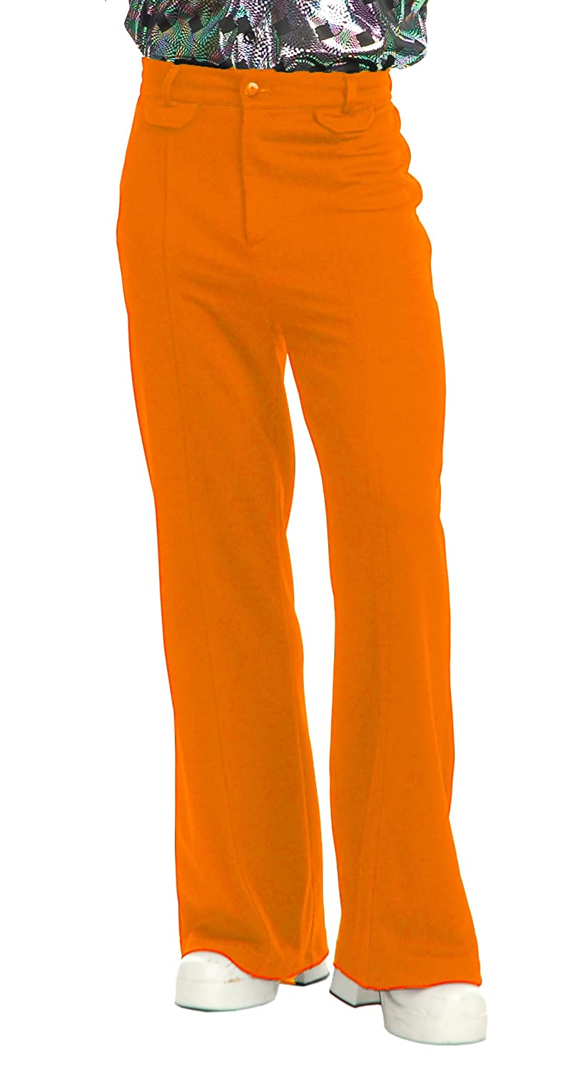 60s – 70s Mens Bell Bottom Jeans, Flares, Disco Pants Charades Disco Pants Adult Costume Orange $28.25 AT vintagedancer.com