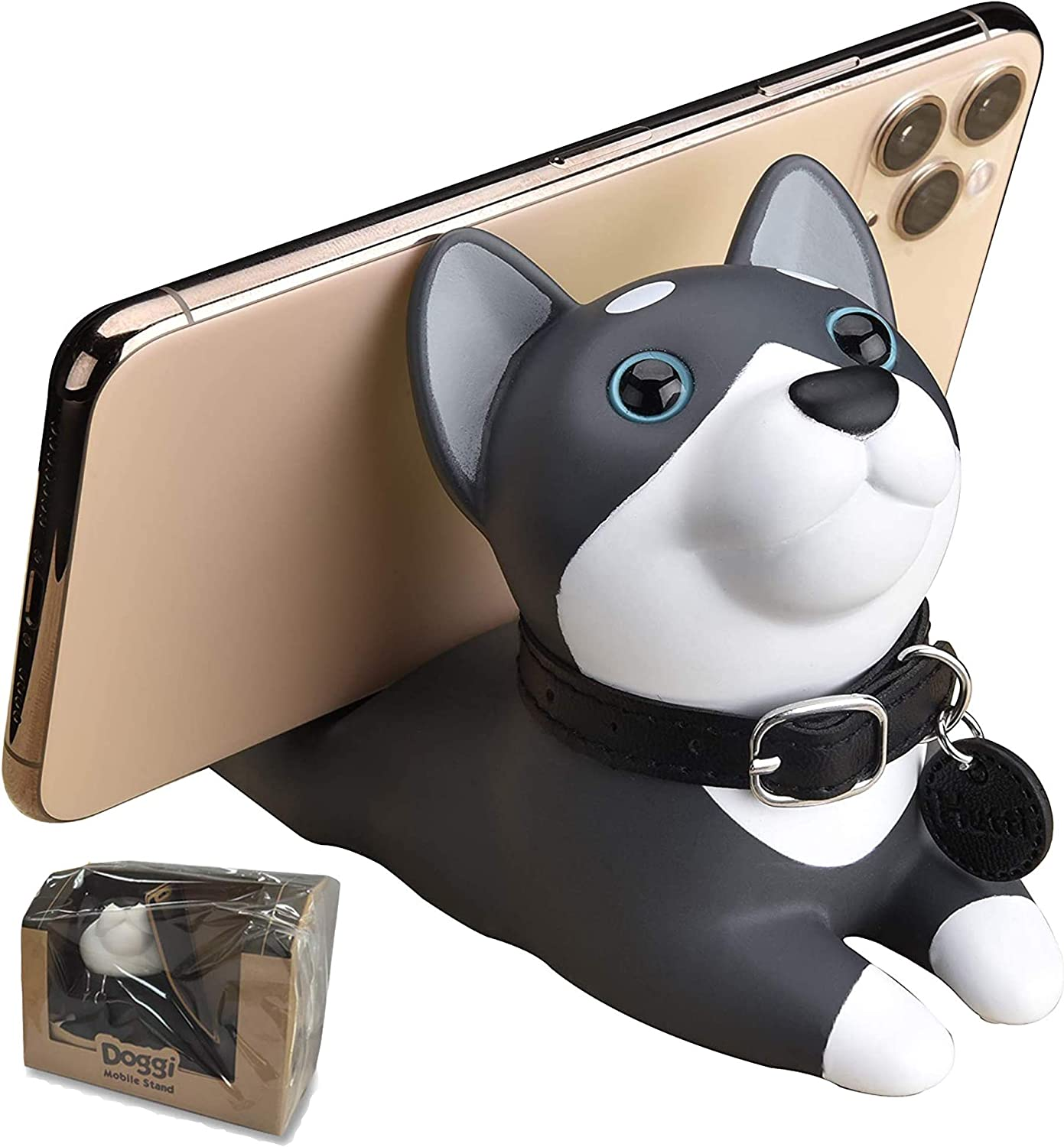 Cute Puppy Dog Desk Cell Phone Stand Holder Cartoon Smartphone Holder Bracket Ornament for Desk,Husky