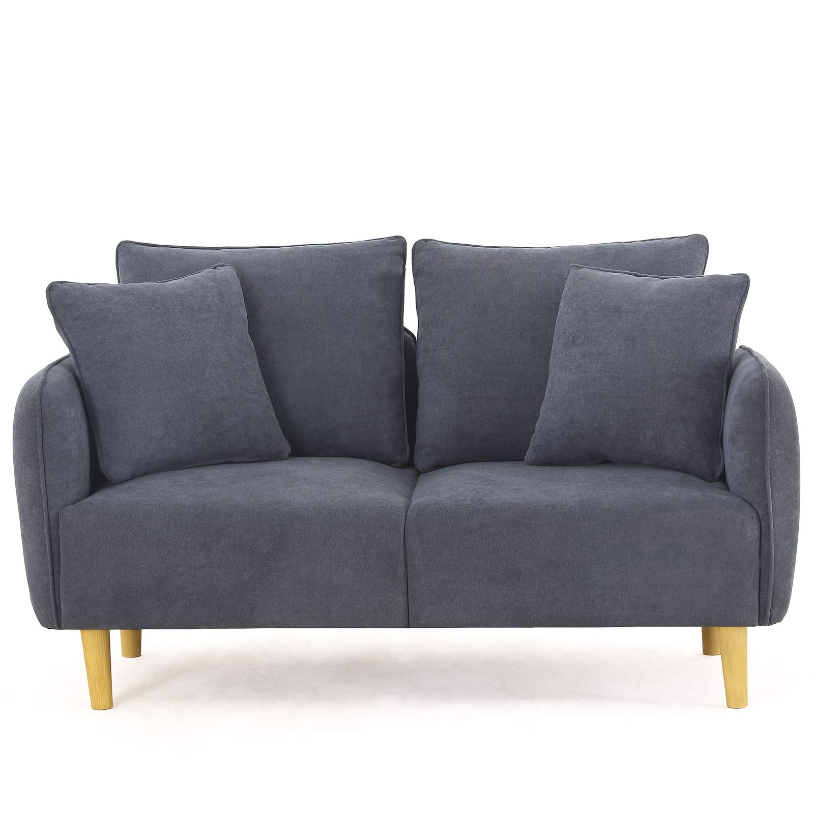 Unihome Fabric 2 Seat Sofa Love Seat Upholstered Couch Loveseat, Wooden Love Sofa for Small Space, Dark Bluish Grey by Unihome