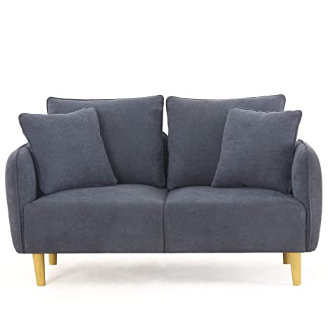 Unihome Fabric 1 Seat Sofa Love Seat Upholstered Couch Loveseat, Wooden Love Sofa for Small Space, Dark Bluish Grey (2 Seat, Bluish Grey)
