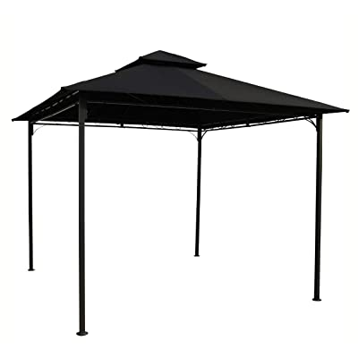 K&A Company Gazebo & Canopy, 10-Ft x 10-Ft Outdoor Gazebo with Black Weather Resistant Fabric Canopy: Toys & Games