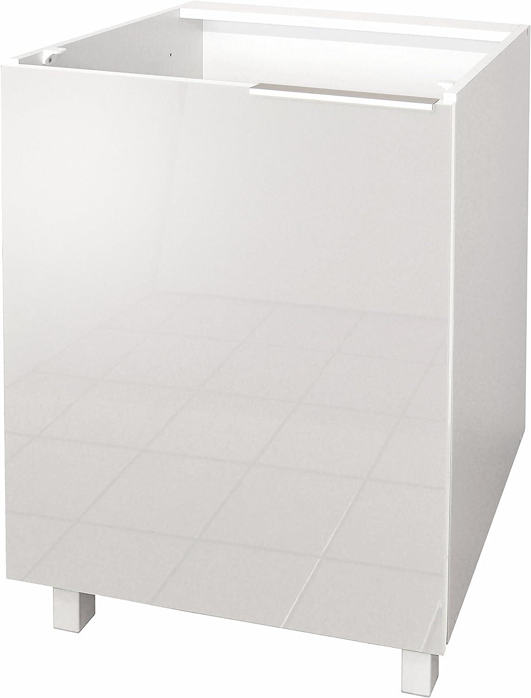 Berlenus CP6BT Meuble Bas de Cuisine avec 1 Porte Taupe Haute Brillance 60 x 83 x 51,6 cm
