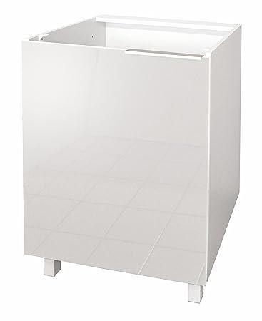 Berlenus Küchen-Unterschrank mit 1 Tür, Hochglanz-Weiß, 60 x 52 x 83 ...